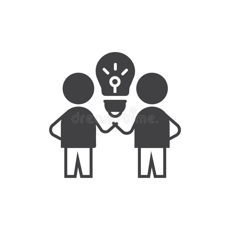 Brain Storm Icona di idea simbolo del segno di vettore con per due persone e la lampadina illustrazione di stock