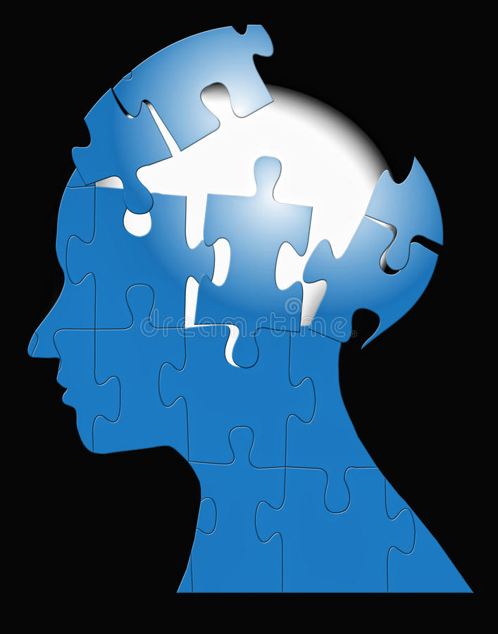Brain Storming Puzzle Mind. Am image for the concept of puzzled mind brain storming mental, where the image shows an human head in silhouette with a puzzle royalty free illustration