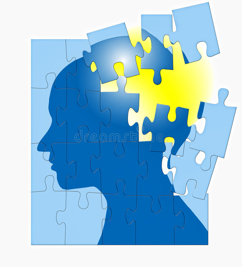 Brain Storming Puzzle Mind. Am image for the concept of puzzled mind brain storming mental, where the image shows an human head in silhouette with a puzzle stock illustration