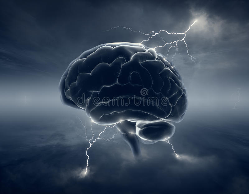 Brain in stormy clouds - conceptual brainstorm royalty free illustration
