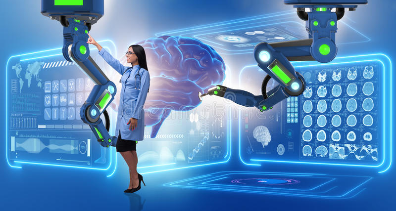 The brain surgery done by robotic arm. Brain surgery done by robotic arm royalty free stock photo