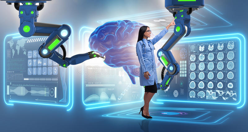 The brain surgery done by robotic arm. Brain surgery done by robotic arm stock photo