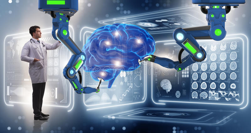 The brain surgery done by robotic arm. Brain surgery done by robotic arm royalty free stock photos
