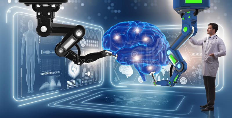 The brain surgery done by robotic arm. Brain surgery done by robotic arm stock image