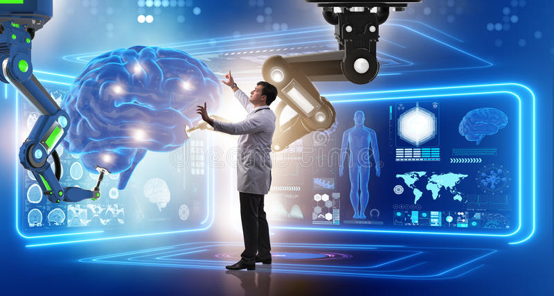 The brain surgery done by robotic arm. Brain surgery done by robotic arm stock photography