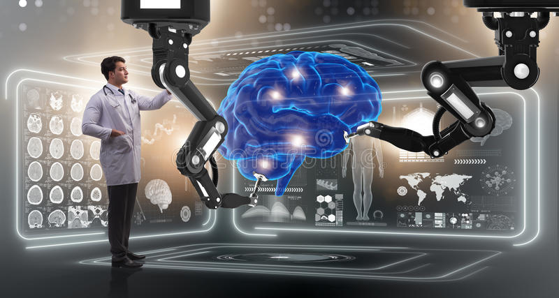 The brain surgery done by robotic arm. Brain surgery done by robotic arm royalty free stock images