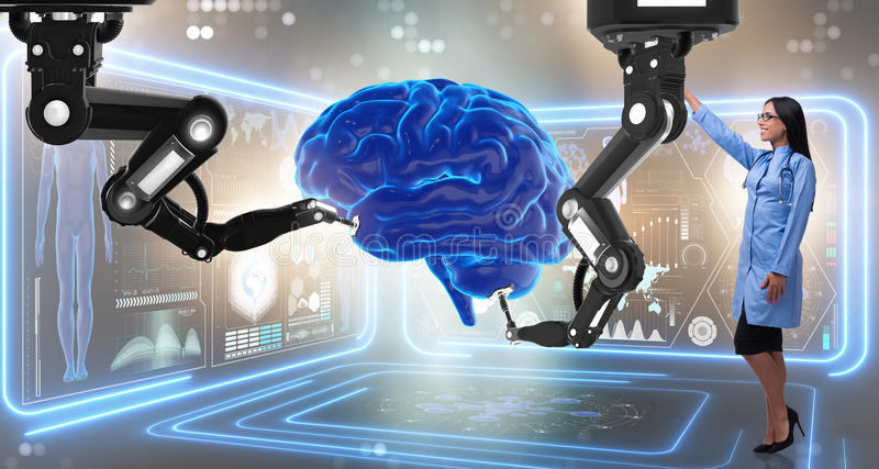 The brain surgery done by robotic arm. Brain surgery done by robotic arm royalty free stock image