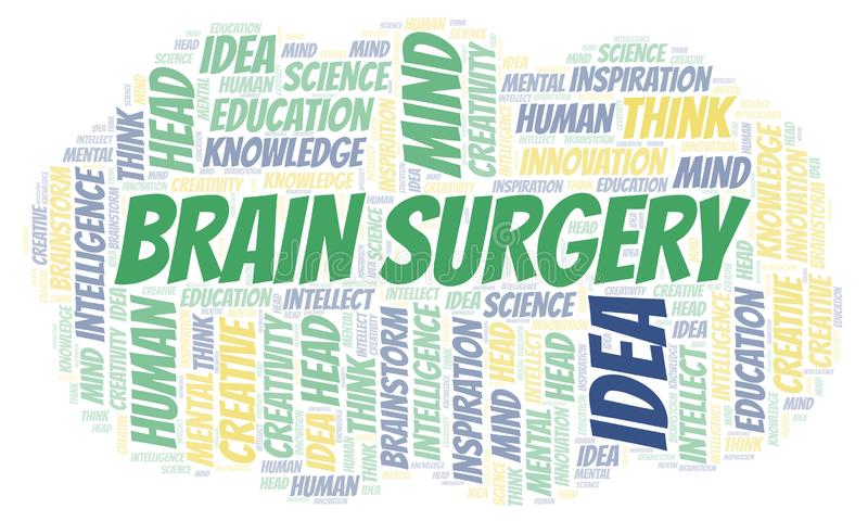 Brain Surgery word cloud. Wordcloud made with text only stock illustration