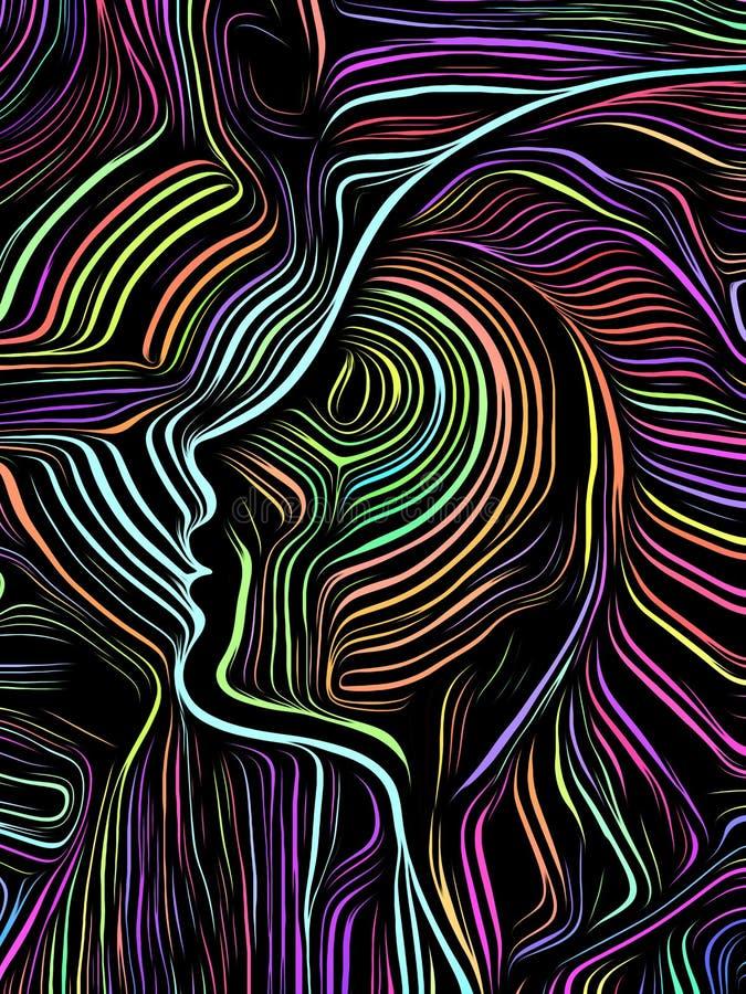 Brain Swirl Woodcut stock abbildung