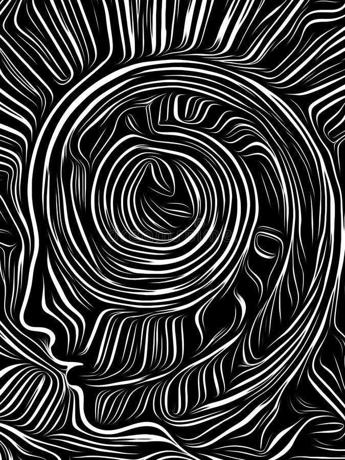 Brain Swirl Woodcut vektor abbildung