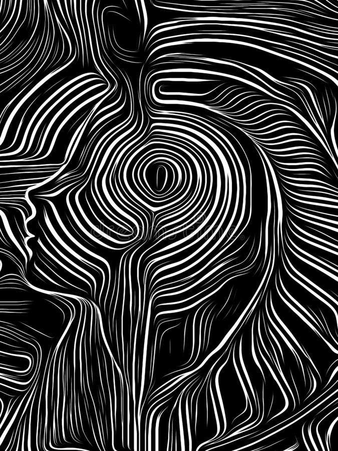 Brain Swirl Woodcut lizenzfreie abbildung