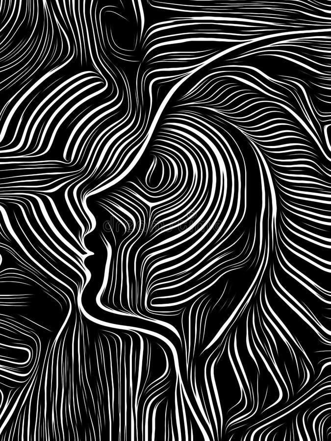Brain Swirl Woodcut stock illustratie