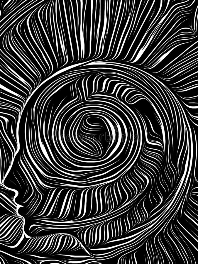 Brain Swirl Woodcut vektor illustrationer