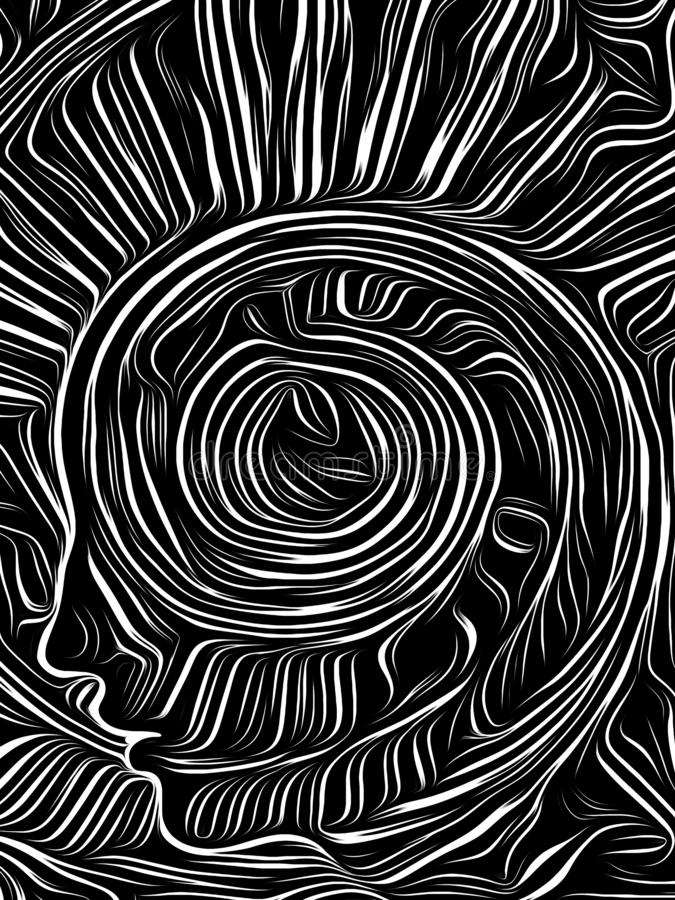 Brain Swirl Woodcut ilustración del vector