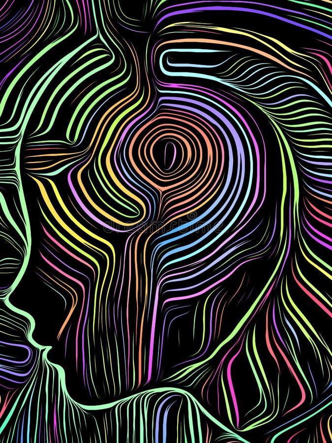 Brain Swirl Woodcut stock de ilustración