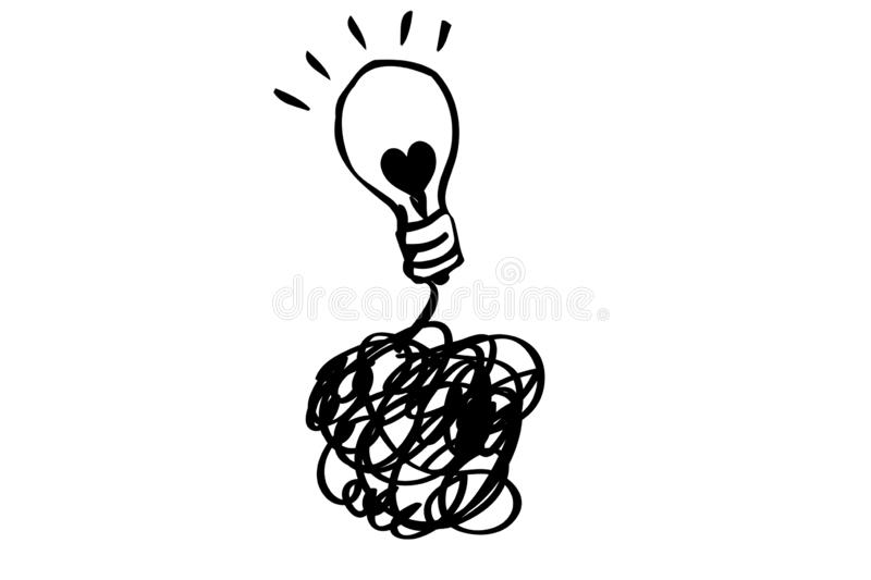 Brain with switch and bulb light cartoon illustration graphic design on white. Doodle style. Element, electricity, drawing, creative, concept, idea, object stock images