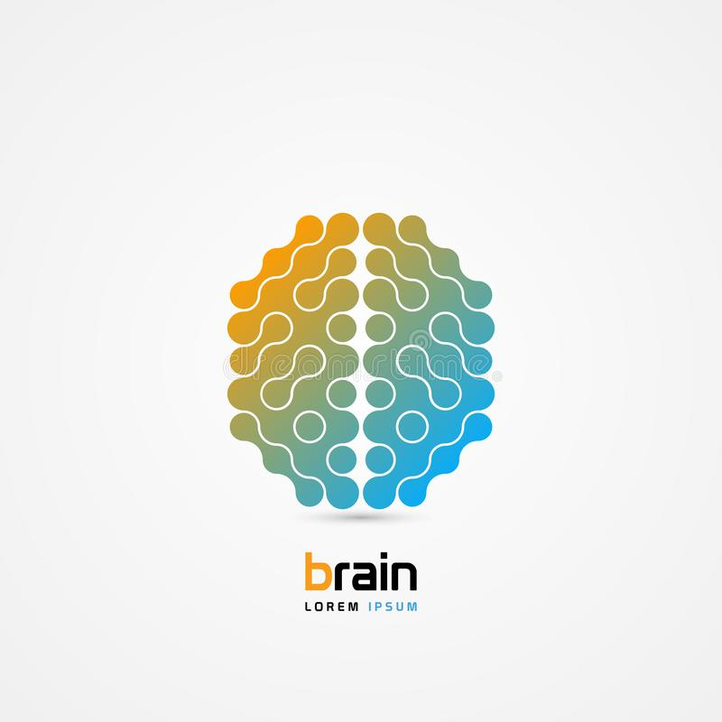 Brain symbol. Cells style. Icon. Creative mind. Vector. Illustration stock illustration