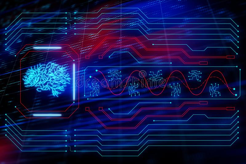 Brain symbol. Glowing circuit board and a CPU with a brain symbol at abstract background. 3D render stock illustration