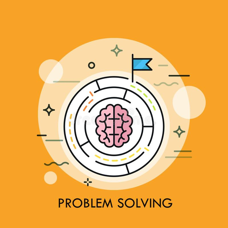Brain symbol placed inside circular maze. Concept of problem solving strategy, business challenge, making right choice. Searching for answer. Vector stock illustration