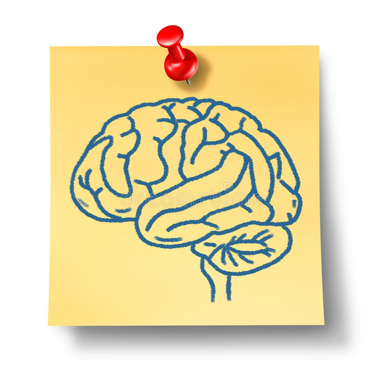 Brain symbol on yellow office note. Representing intelligence and thought vector illustration