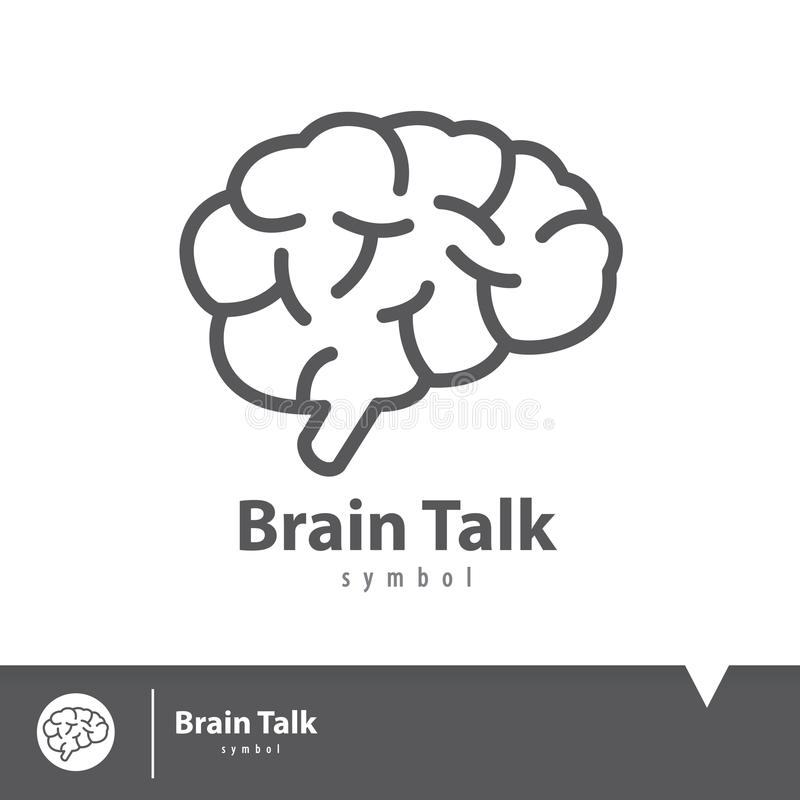 Brain talk icon symbol. Logo elements template design. Vector illustration, Connection concept stock illustration