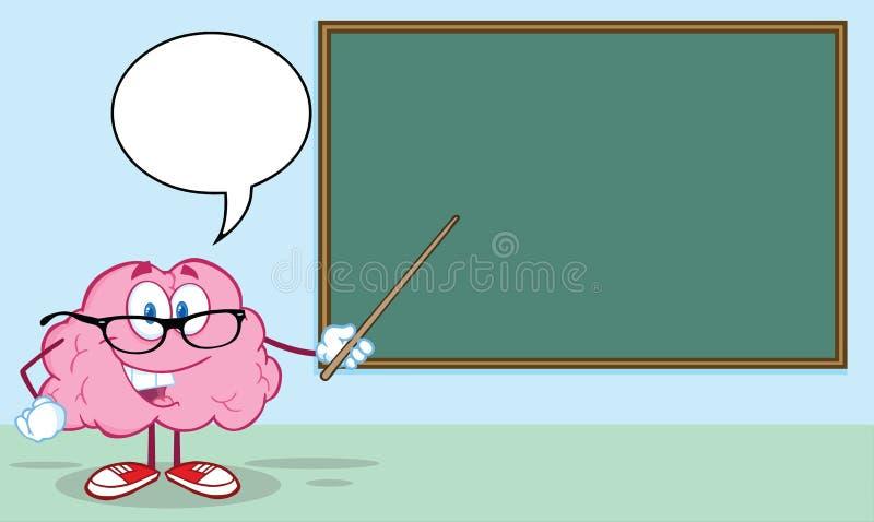 Brain Teacher With en pekare i Front Of Chalkboar stock illustrationer