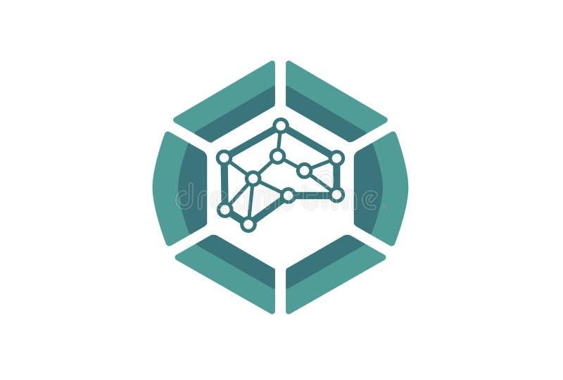 Brain Tech Logo Design Illustration ilustración del vector