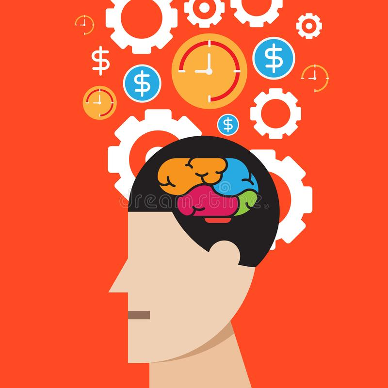 Brain thinking success, business time concept vector. Brain thinking success, business communication time concept vector stock illustration