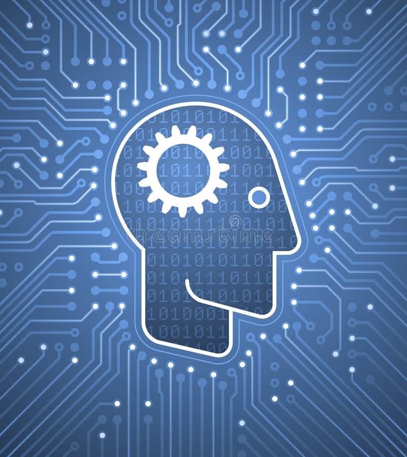 Brain To Computer Interface - esprit cybernétique illustration stock