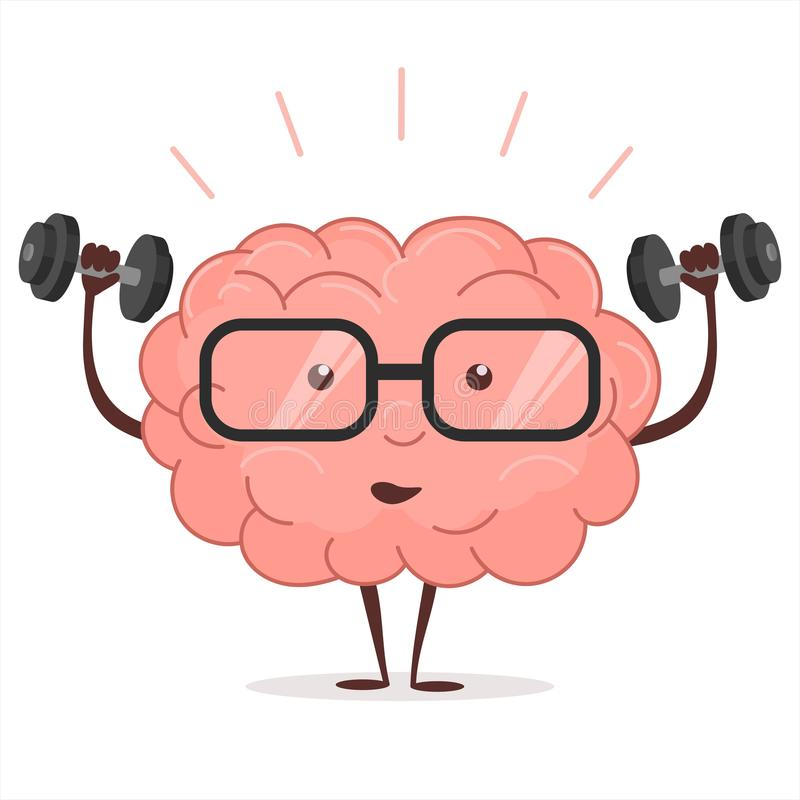 Brain training with dumbbells and glasses. Vector. Brain training with dumbbells and glasses on white background, human train intellect, mind fitnes workout royalty free illustration