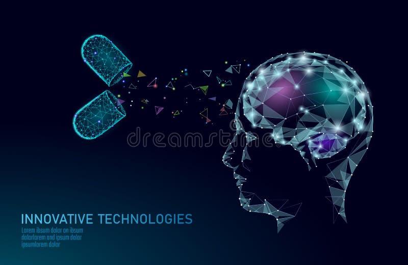 Brain treatment low poly 3D render. Drug nootropic human ability stimulant smart mental health. Medicine cognitive royalty free illustration