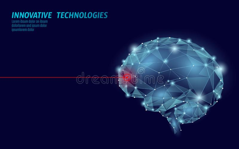Brain treatment low poly 3D render. Drug nootropic human ability stimulant smart mental health. Medicine cognitive vector illustration