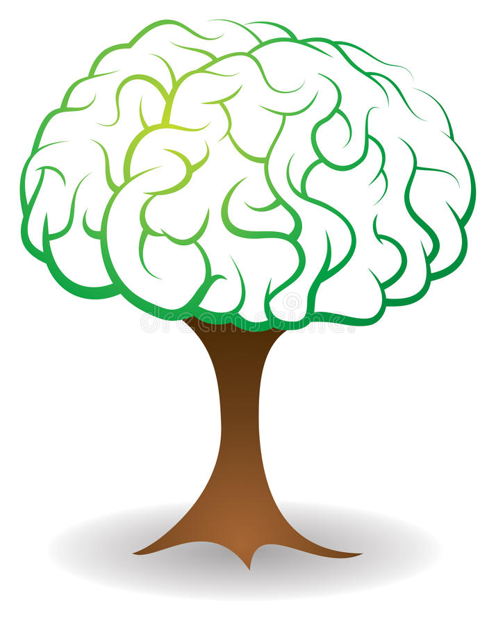 Brain Tree vektor illustrationer