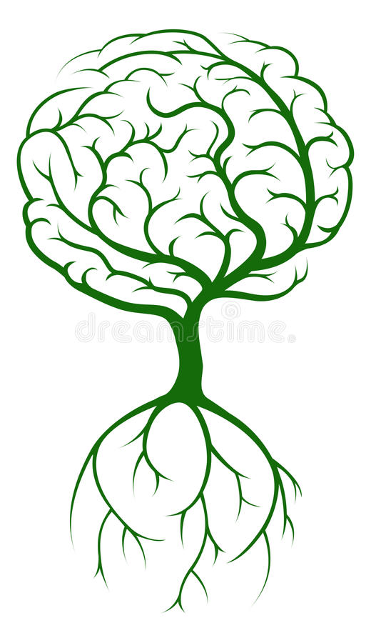 Brain Tree stock illustrationer
