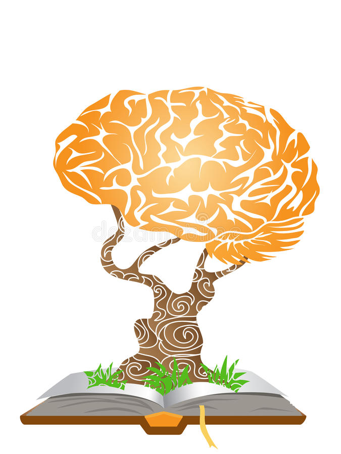 Brain tree on book vector illustration