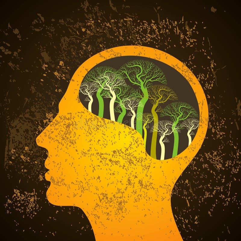Brain tree illustration, tree of knowledge stock illustration