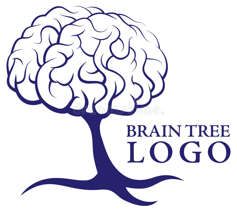 Brain Tree Logo royaltyfri illustrationer