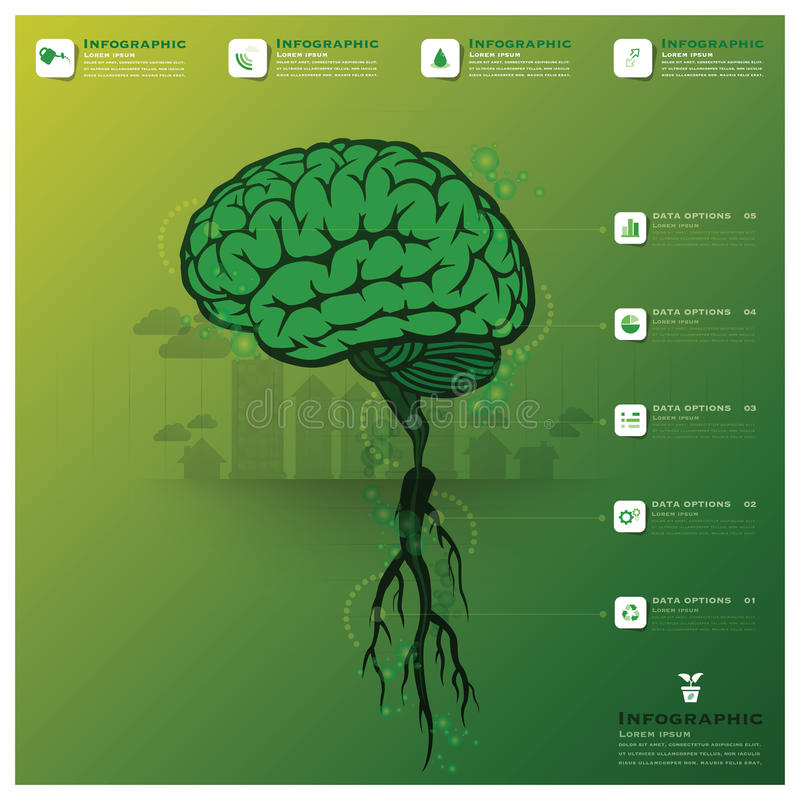 Brain Tree And Root Infographic stock de ilustración