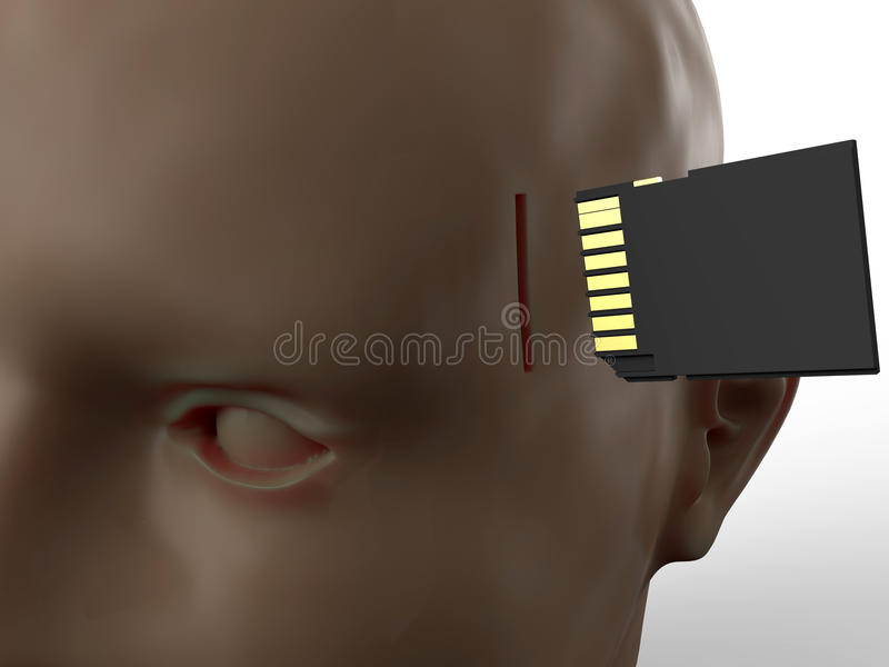 Brain upgrade concept. 3D rendered illustration for the concept of upgrading the brain and memory. The composition is placed on a white background with soft stock illustration