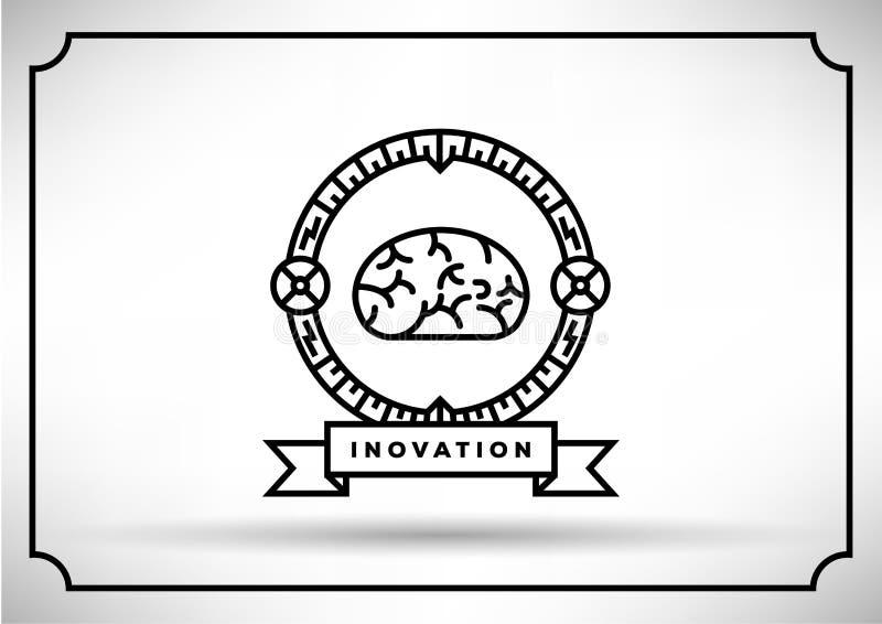 Brain Vector Icon, diseño linear ilustración del vector