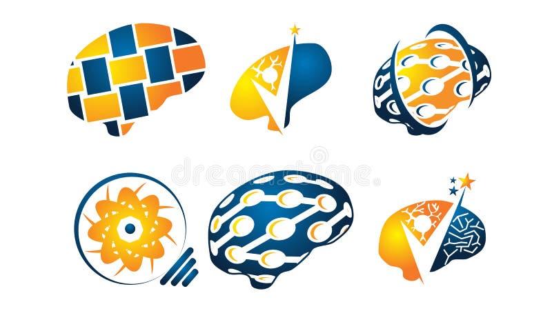 Brain Vector Template Set royaltyfri illustrationer