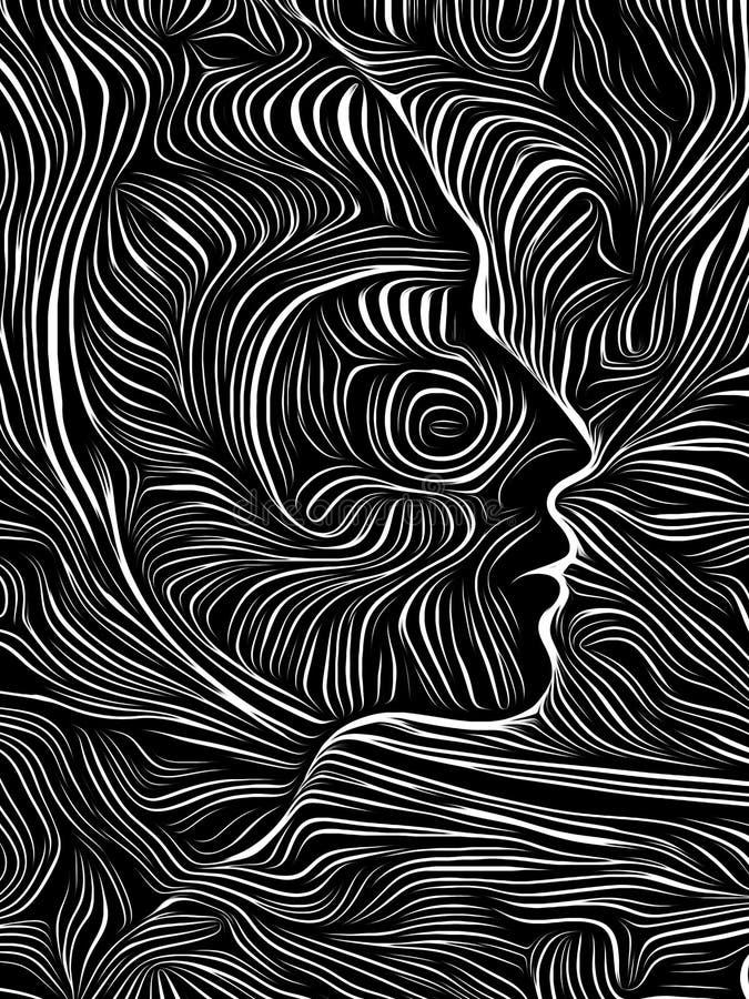 Brain Vortex Woodcut vektor illustrationer