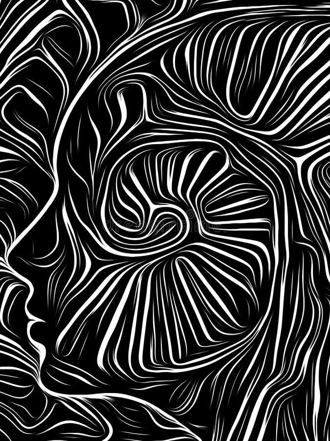 Brain Vortex Woodcut royaltyfri illustrationer