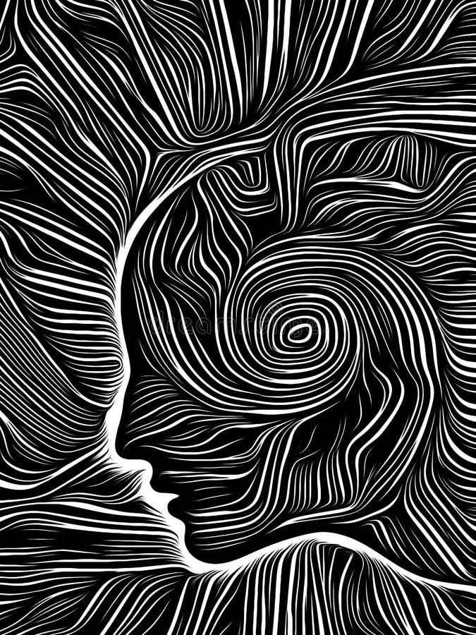 Brain Vortex Woodcut stock illustrationer