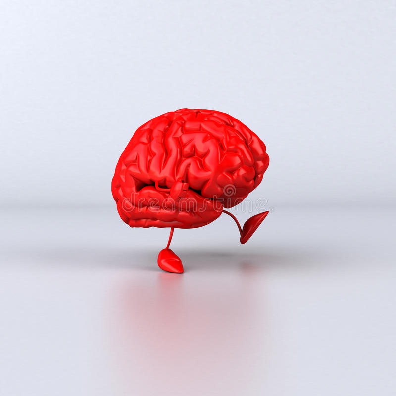 Brain walking stock illustration