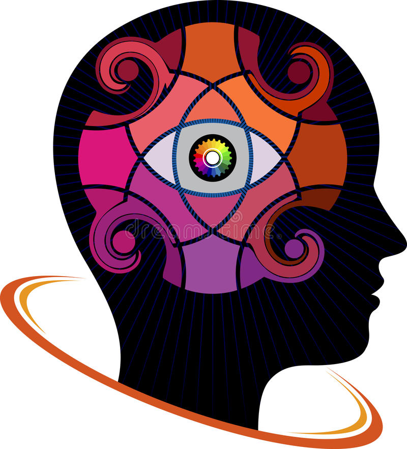 Brain watchful logo. Illustration art of a brain watchful logo with isolated background royalty free illustration
