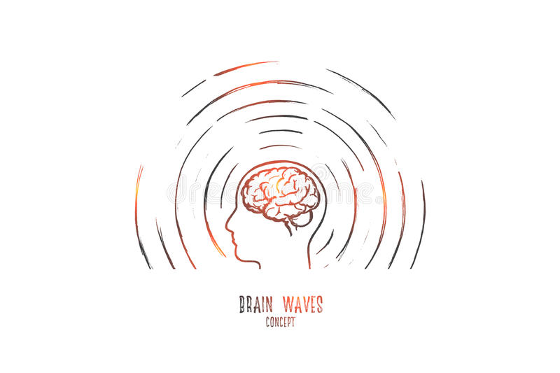Brain waves concept. Hand drawn isolated vector. vector illustration