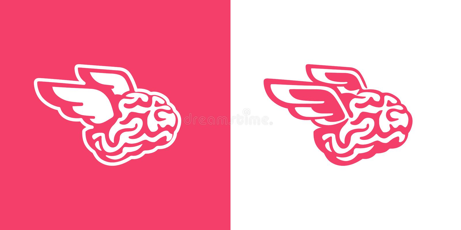 The brain with wings flies vector illustration. Brains of the dreamer vector illustration
