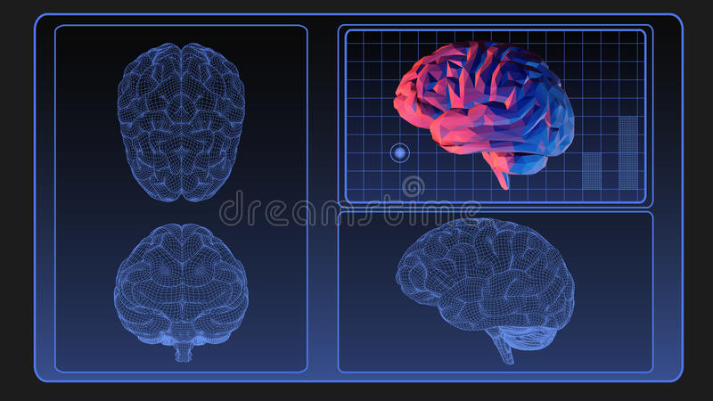Brain wireframe graphic on monitor screen stock illustration