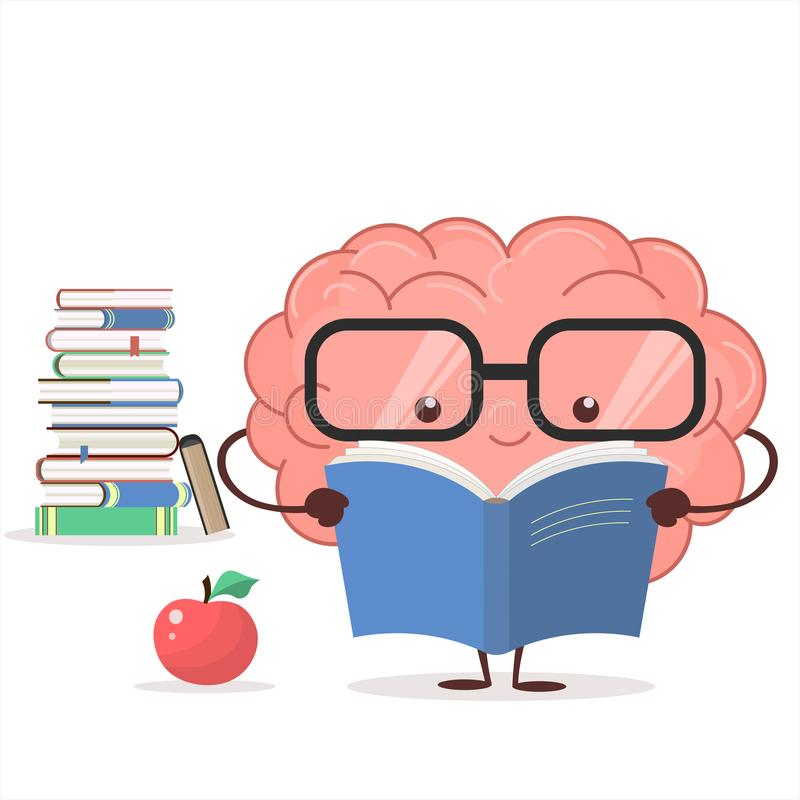 Free Brain With Glasses And Book. Vector Royalty Free Stock Images - 109393399